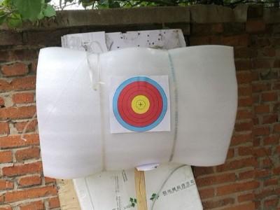 在家用珍珠棉自己做一次性射箭靶非常实用